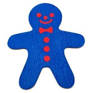 Magnet en cuir «Bonhomme pain d'épice» – Bleu