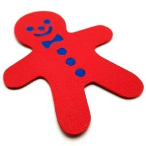 Magnet en cuir «Bonhomme pain d'épice» – Rouge
