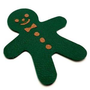 Magnet en cuir «Bonhomme pain d'épice» – Vert