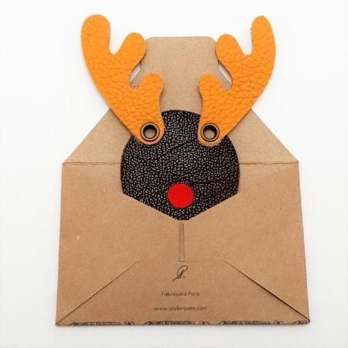 Magnet en cuir Rennes du Père Noël Fabriqué à Paris - packaging papier kraft - Mon Souvenir de Paris by Atelier Pato