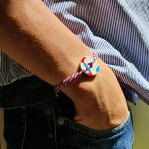 Bracelet Médaillon 100% plastique recyclé tricolore