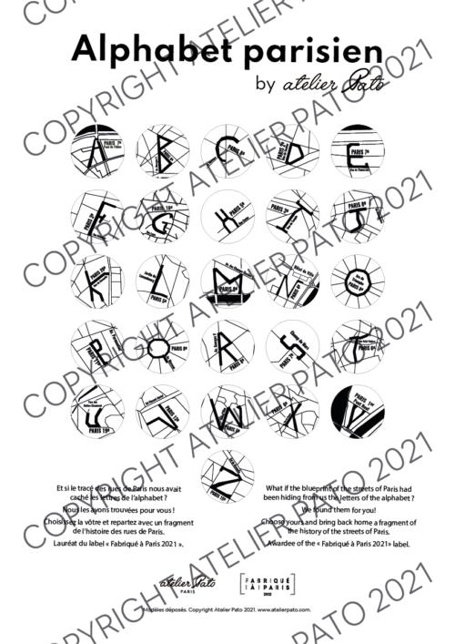 Initiales Alphabet Parisien by Atelier Pato - Copyright ATELIER PATO 2021